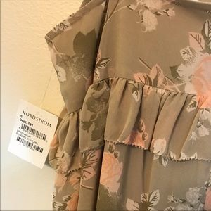 Frenchi Dresses - Frenchi High Low Beige Floral Chiffon Dress